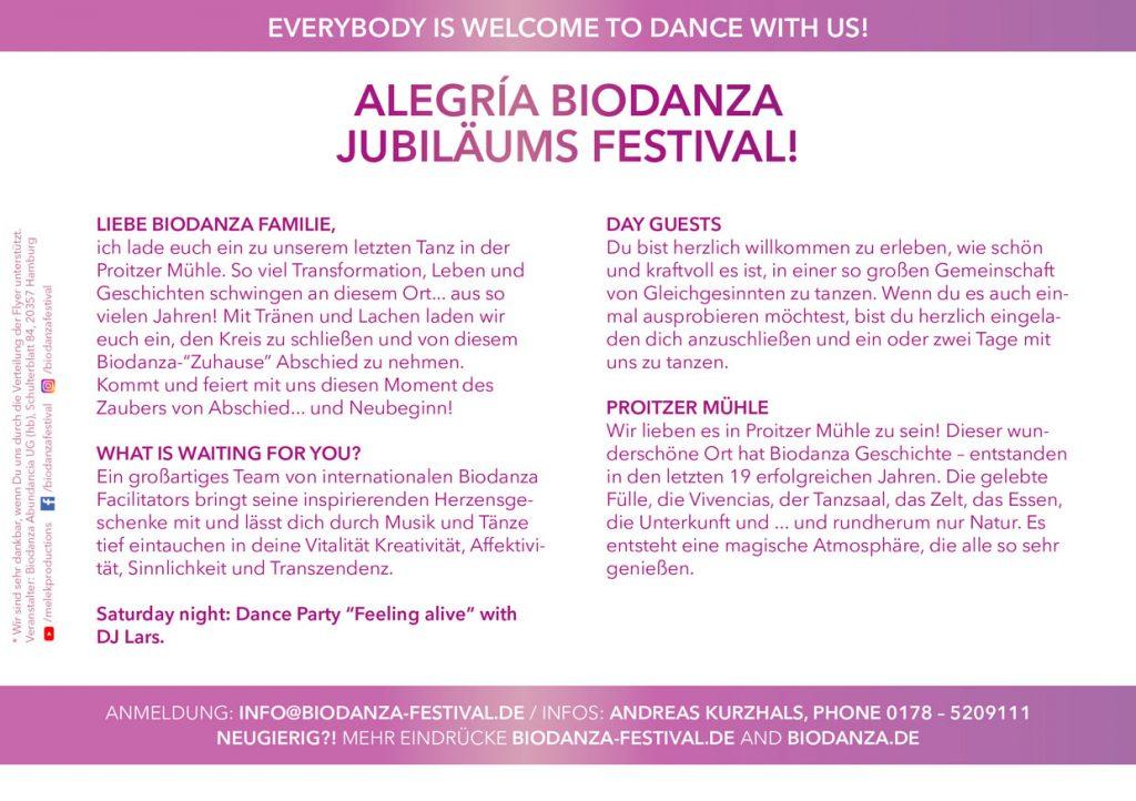 Flyer Biodanza Festival Proitze 2020 back