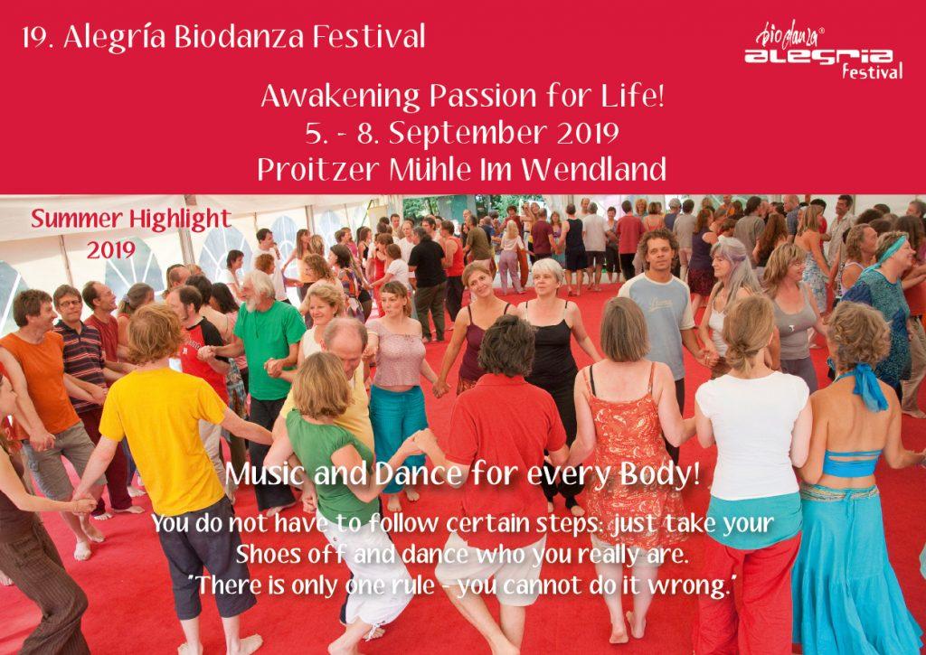 Alegria Biodanza Festival Flyer 2019