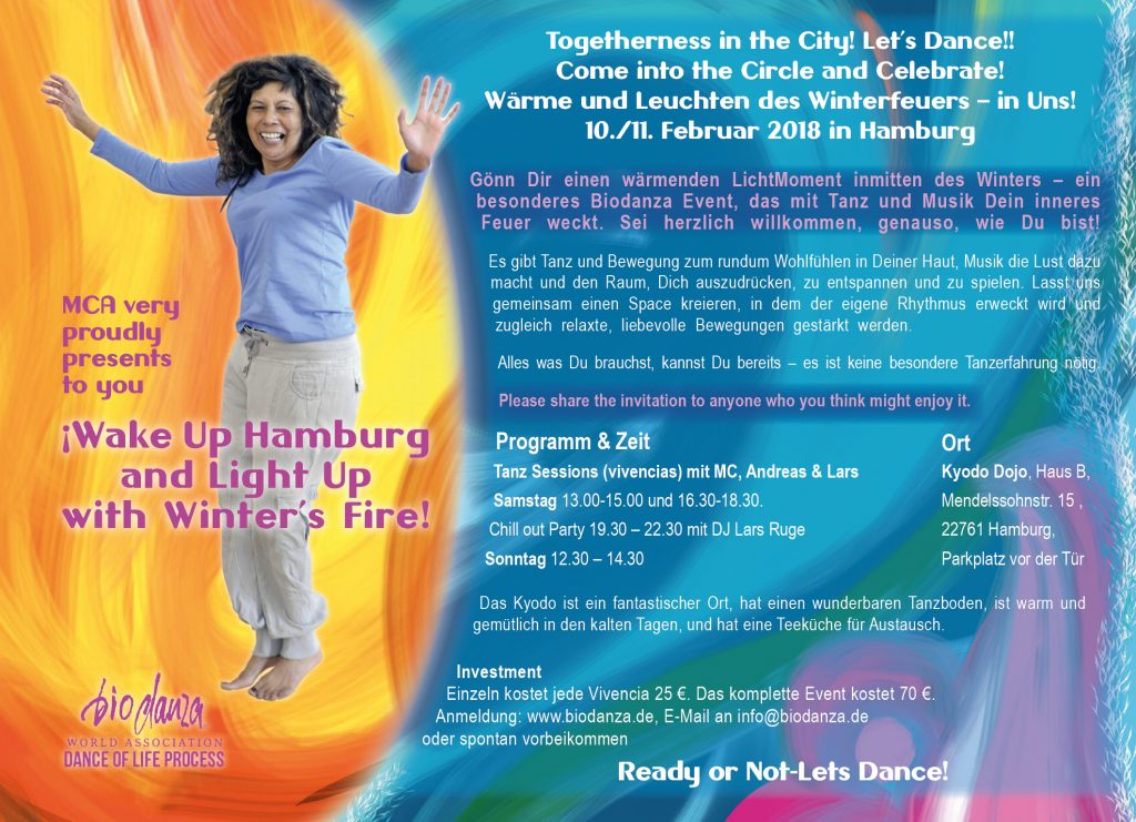 Flyer for Biodanza Winterfire 2018 in Hamburg