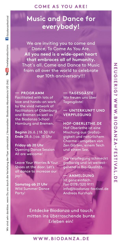 Biodanza Summer Celebration 2020 Rückseite