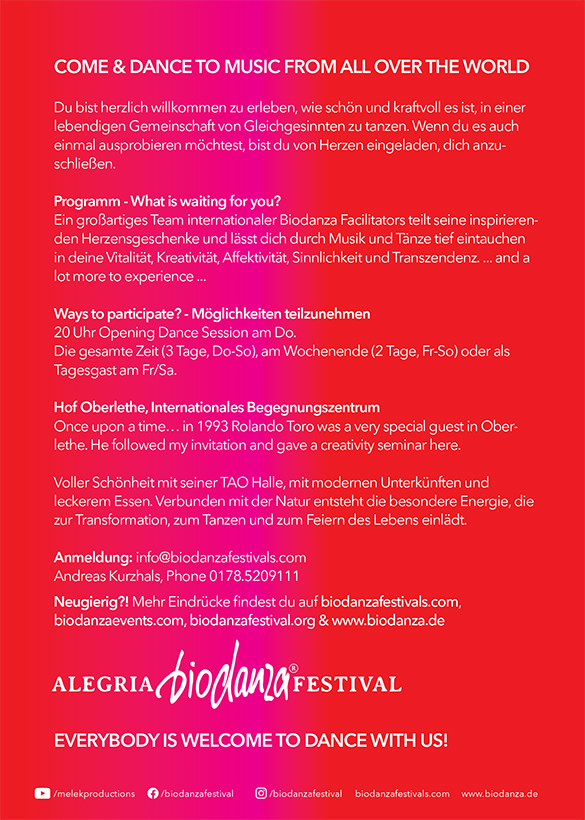 Flyer Biodanza Festival 2022 in Oberlethe back